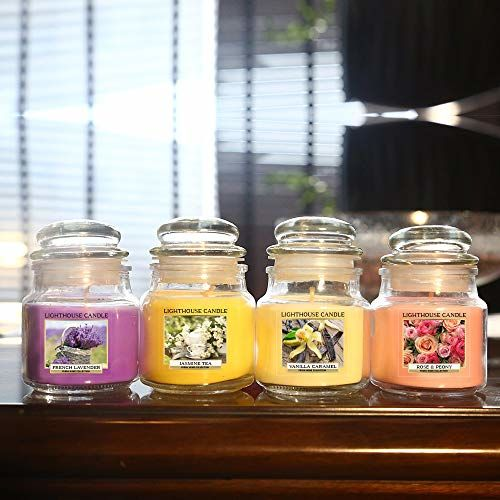 LightHaus Candles Set of 4 Richly Scented Candles in Breathtaking Range of Aromas | Vanilla Caramel, Midnight Jasmine, English Rose & Lavender Fields | Candles