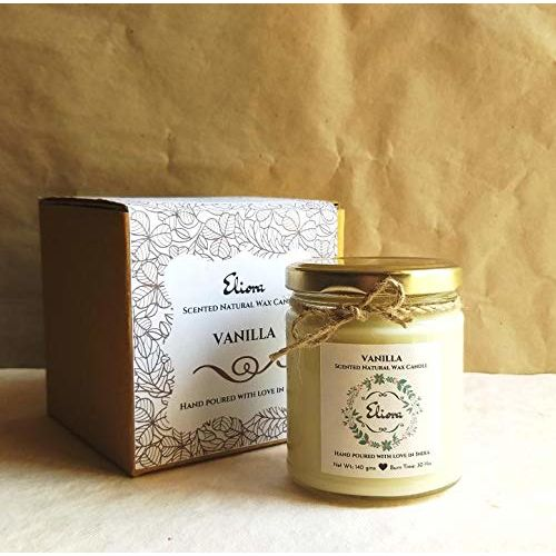 Eliora Vanilla Scented Candle Made with Blended Natural Wax and fine Fragrance Oils