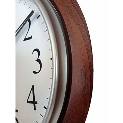 LYONIC President Analog Quartz Official Designer Big Size Wall Clock for Hall (42 X 42 cms Color-Dark Wood and White) Made in India