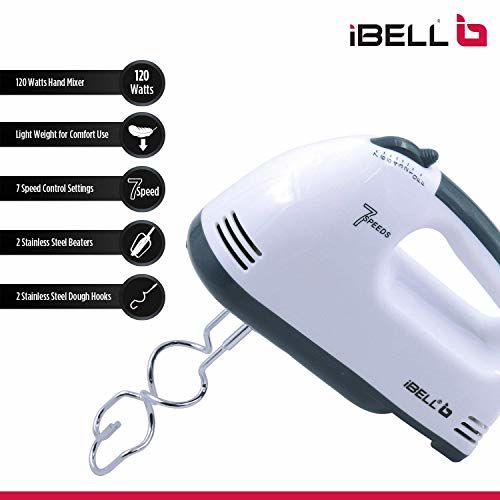 iBELL Hand Mixer Beater Blender Electric Cream Maker for Cakes with Base 7 Speed Control and 2 Stainless Steel Beaters, 2 Dough Hooks (White) and Dough Hooks (White)