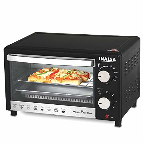 Inalsa MasterChef 10BK Oven Toaster Griller with Temperature Selection 800 W, Powder Coated Finish, Includes Baking Pan, SS Grill Tray, Hand Glove (Black)