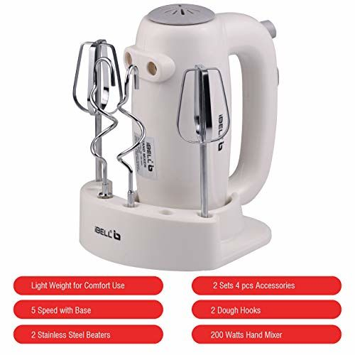iBELL Hand Mixer Beater Blender Electric Cream Maker for Cakes with Base 5 Speed Control and 2 stainless Steel Beaters, 2 Dough Hooks (White)