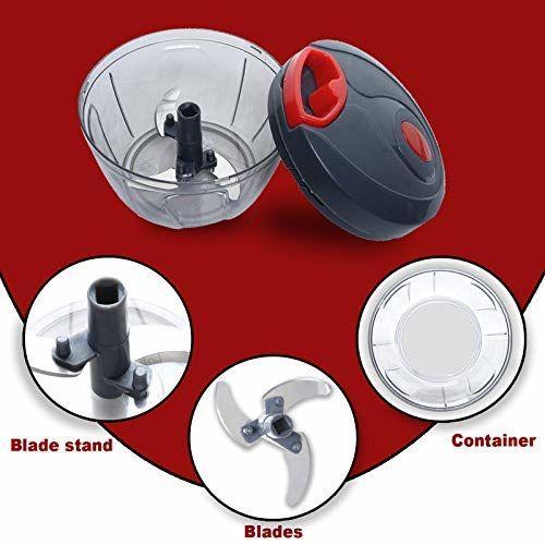 Peiroks Plastic Handy Vegetable Chopper, Cutter, Mixer Set (Black, 350 ML)