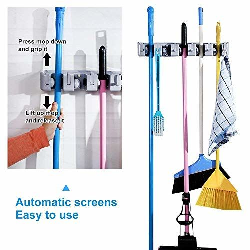 QOZWEID Mop and Broom Holder; Upgraded with Effective Strong Holding 5 Slot Position with 6 Hooks Garage Storage up to 11 Tools Wall Mounted; Organize Ideas;