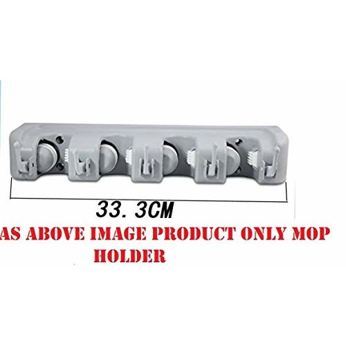 EAYIRA Wall Mounted Storage 4 Slot Position Mop Holder and Broom with 5 Hooks Garage (Multicolour)