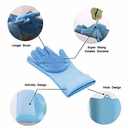 Twinthers Magic Silicone Dish Washing Gloves, Silicon Cleaning Gloves, Silicon Gloves for Kitchen Dishwashing and Pet Grooming, Great for Washing Dish, Car,