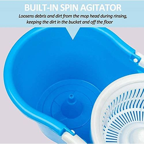 Mop'n'me Microfiber 2 Refill 360 Spin Bucket Mop with Wheel to Easy Moving (Medium, Blue)