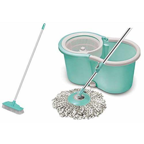 Spotzero By Milton AceSpinMop, Aqua green & Ruff N Tuff Floor Scrubber (Aqua Green) Combo
