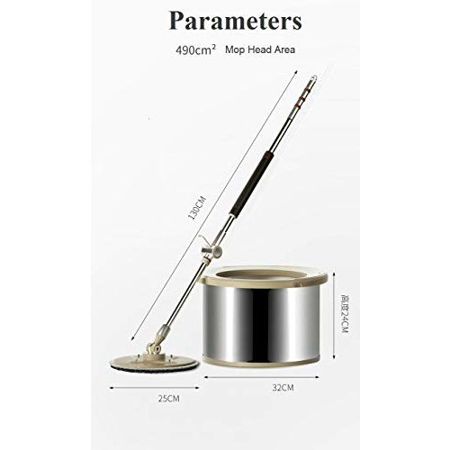 U.P.C. Pureatic Revolutionised Mopping 25 cm Spin Mop Equipped with Elution Scrubber Technology with. 2 Refills, Brushed Stainless Steel Bucket and Handle