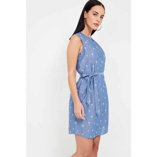 FAME FOREVER Printed Tie-Up Waist A-line Dress
