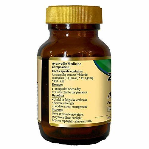 Zandu Asvagandha pure herbs, for stress management - 60 veg capsules
