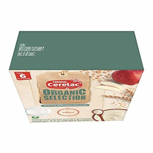 Nestle CERELAC Organic Selection Wheat Cereal - From 6 to 12 months, 200g Bag-In-Box Pack