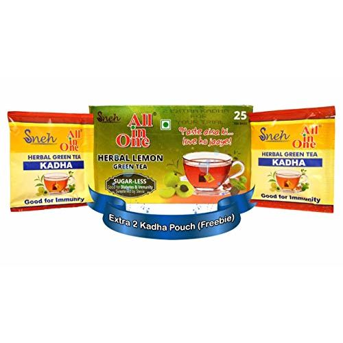 All in One Herbal Lemon Green Tea Sugar -Less 25 Tea Bags