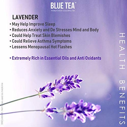BLUE TEA - Pure Lavender Flower Tea from Farms of Kashmir- 30g | Sun Dried Flowers | Also Used for Iced Tea, Flavored Syrups, Cocktails, Organic Soap Making and Infusions
