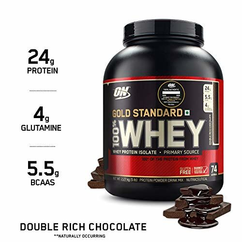 Optimum Nutrition (ON) Gold Standard 100% Whey Protein Powder - 5 lbs, 2.27 kg (Double Rich Chocolate), Primary Source Isolate