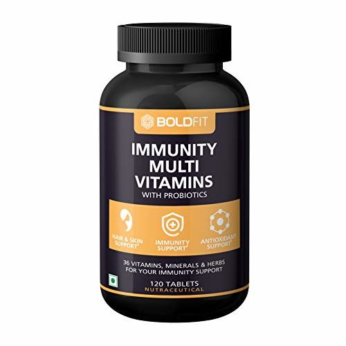 Boldfit Multivitamin For Men & Women (120 Veg Tablets) With Probiotics Vitamin C, E, & Zinc For Immunity, Biotin, for healthy Hair, Skin & Nails. Added Immunity