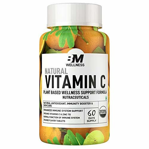Bigmuscles Nutrition Natural Vitamin C & Zinc Tablets 1000 mg, Immunity, Antioxidant, Skincare (60 tablets) Orange Flavour, Vegan & Keto Friendly, Organic