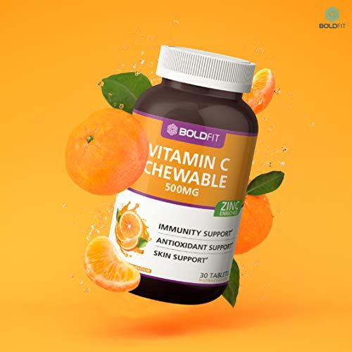 Boldfit Vitamin C With Zinc Chewable Tablets 500mg - Immunity Booster for Men, Women & Kids Antioxidant & Skin Support (Delicious Tangy Orange Flavour) - 30