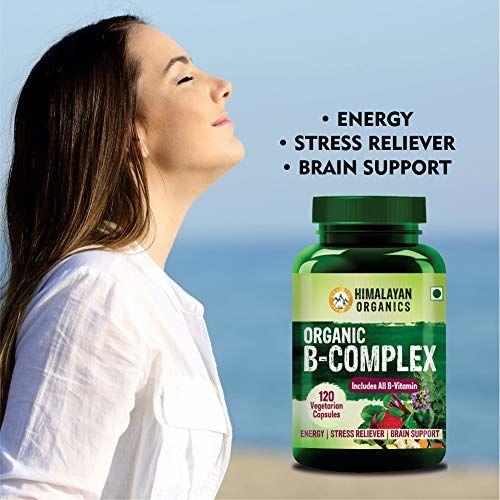 Himalayan Organics Organic B Complex Vitamins B12, B1, B3, B2, B9 and Biotin for Metabolism, Hair and Energy 120 Veg Capsules