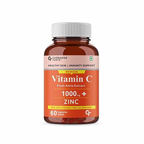 Carbamide Forte Natural Vitamin C 1000mg Amla Extract With Zinc For Immunity & Skincare - 60 Veg Tablets