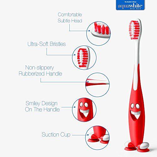 aquawhite Junior Smiley Toothbrush, Soft Bristles, Pack of 12