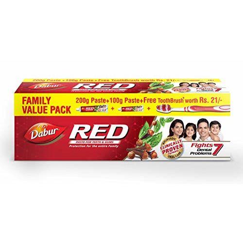 Dabur Red Ayurvedic Paste - Complete Dental Care - 200g+100g with free Binaca Tooth Brush worth Rs 21
