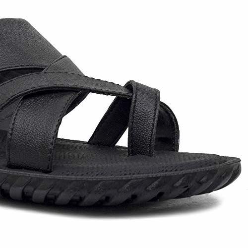 ASIAN Men's & Boys' Black Thong Sandal - 6 UK