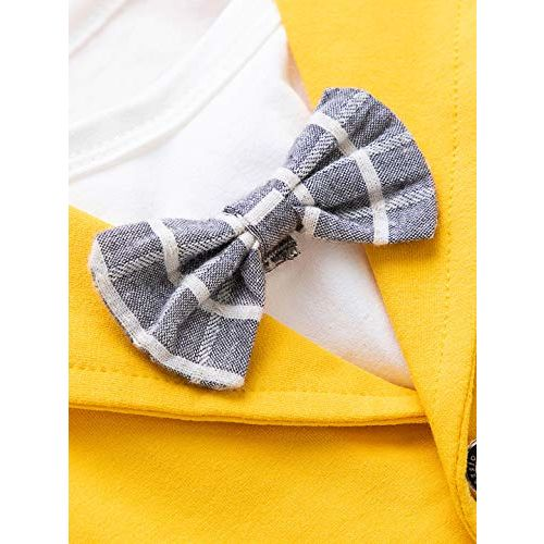 Hopscotch Baby Boys Polycotton Solid Blazer Attached Bow with T-Shirt and Pant Set in Yellow Color for Ages 9-12 Months