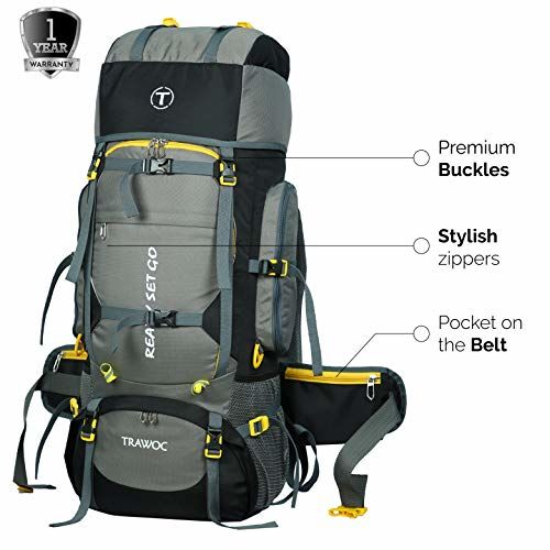 TRAWOC 80L Travel Backpack for Outdoor Sport Camp Hiking Trekking Bag Camping Rucksack 1 Year Warranty