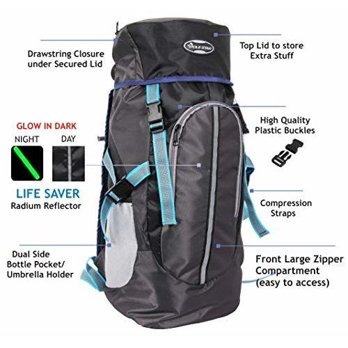 POLESTAR Hike Black 44 Ltr Rucksack With Rain Cover For Trekking Hiking Travel Backpack