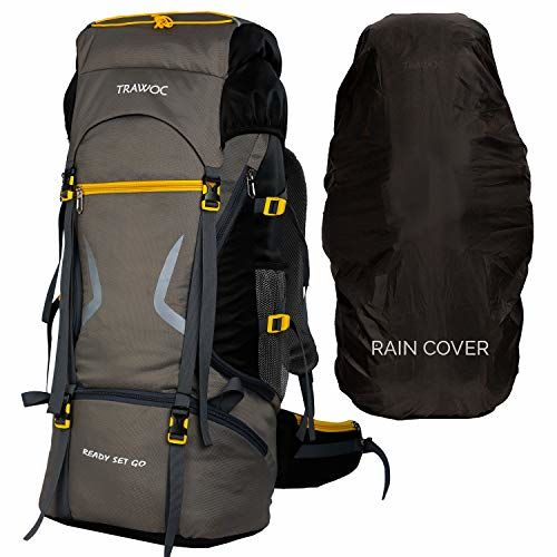 TRAWOC 65 L Travel Backpack for Hiking Trekking Bag Camping Rucksack MHK002 1 Year Warranty (Grey)