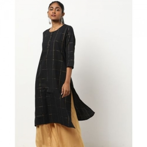 Project Eve IW Casual Checked Straight Kurta with Short Button Placket