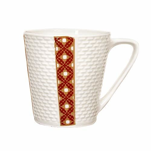 Femora Indian Ceramic Fine Bone China Handmade Golden Ambush Red Design Tea Cup Coffee Cup - 6 Pcs,160 ML - Small Serving