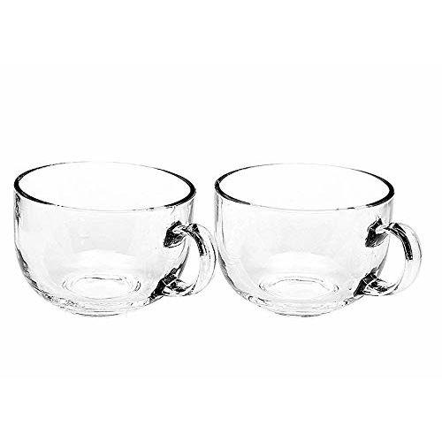 EleWa Large Glass Coffee Mug, Milk Mug, Green Tea Mug, Soup Bowl Multi-Purpose Mug Set - (480 ml, Pack of 2)