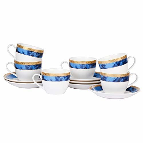 Femora Indian Ceramic Fine Bone China Royal Blue Border Gold Drop Cups and Saucers - 200 ML- Set of 12 (6 Cups, 6 Saucer)