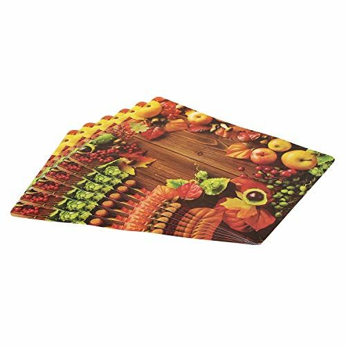 Swadesi E Shop PVC Reversible Printed Dining Table Mat Set (Size 11.5 x 17.5, Multi) Set of 6