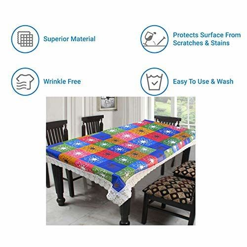 CASA-NEST Thick PVC Printed Dining Table Cover, 4 Seater Size-40x60 inch, Waterproof Easy to Clean, Blue Multi Color