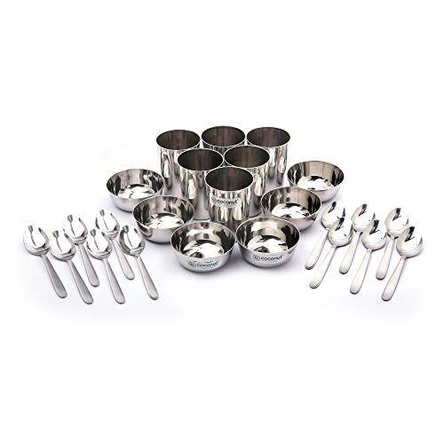 Coconut Stainless Steel (Heavy Guage) Mirror Finish Happy Dinner Set/Dinnerware & Serveware - 30 Pc