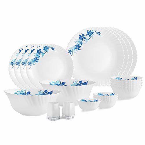 Cello Opalware Dazzle Blue Swirl Dinner Set, 20PCs, White