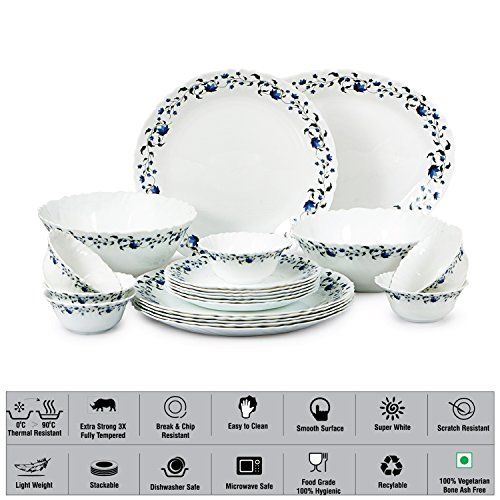 Cello Imperial Vinea Opalware Dinner Set, 21 Pieces, White