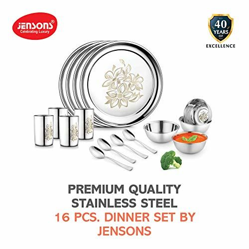 Jensons Stainless Steel Daisy Dinner Set -16 Pcs-Silver- Heavy Gauge with Permanent Laser Design