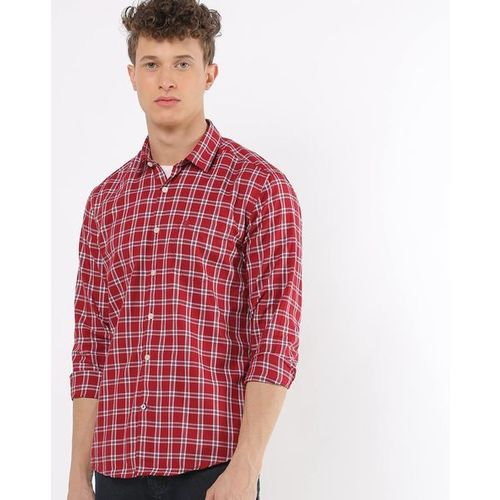 NETPLAY Checked Slim Fit Shirt with Patch Pocket