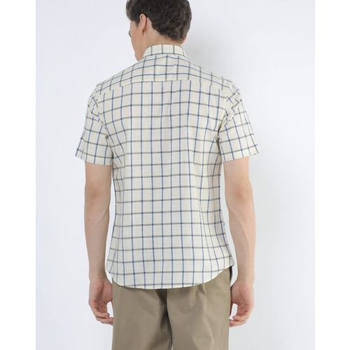 NETPLAY Checked Spread-Collar Shirt with Patch Pocket