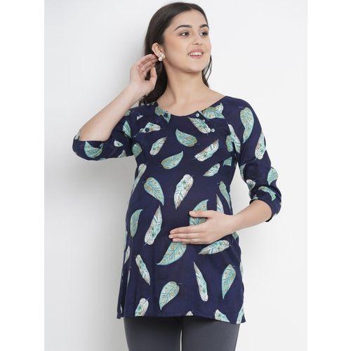 Mine4Nine Casual 3/4 Sleeve Printed Women Dark Blue Top