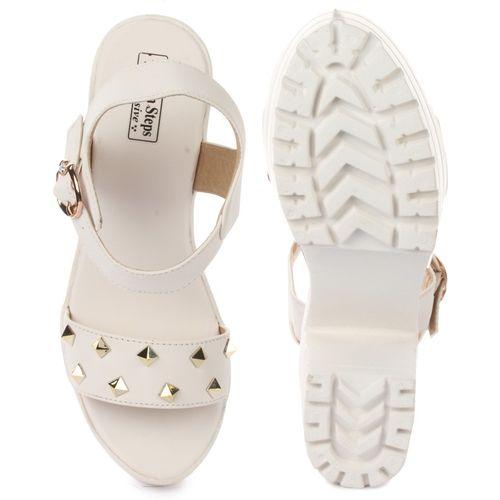 London Steps  White Synthetic Sandal
