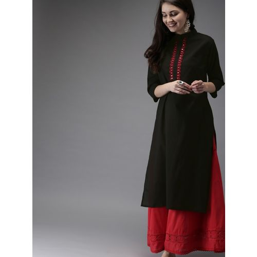 ARYAN Women Embroidered Straight Kurta(Black)