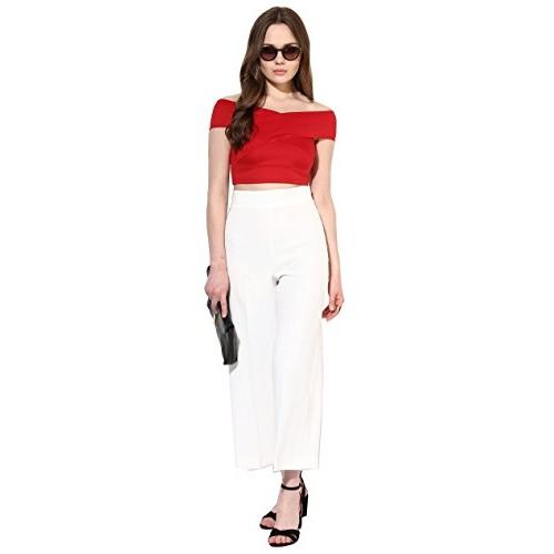 VeniVidiVici Red Off-Shoulder Plain Slim Fit Shirt (VVV45412)