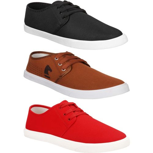 World Wear Footwear Combo Pack of 3 Casual Loafer Sneakers Shoes Casuals For Men(Multicolor)