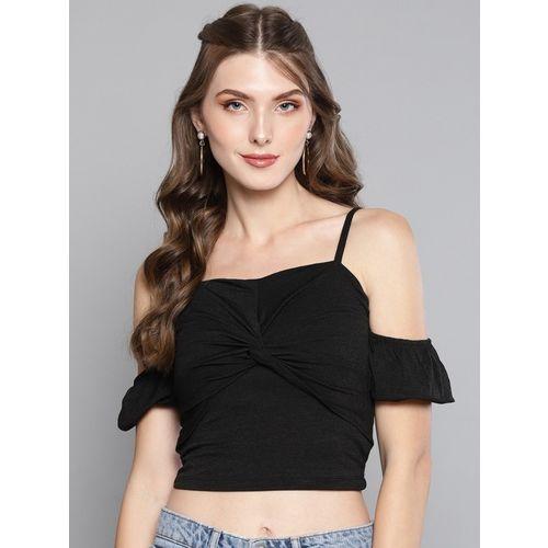 Veni Vidi Vici Casual Cold Shoulder Solid Women Black Top