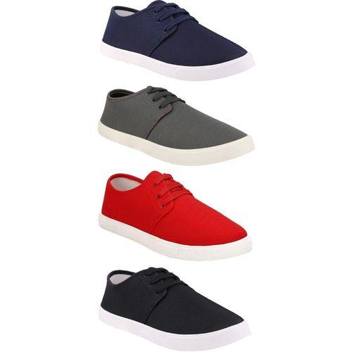 Chevit Multicolour Canvas Lace Up Casual Shoes